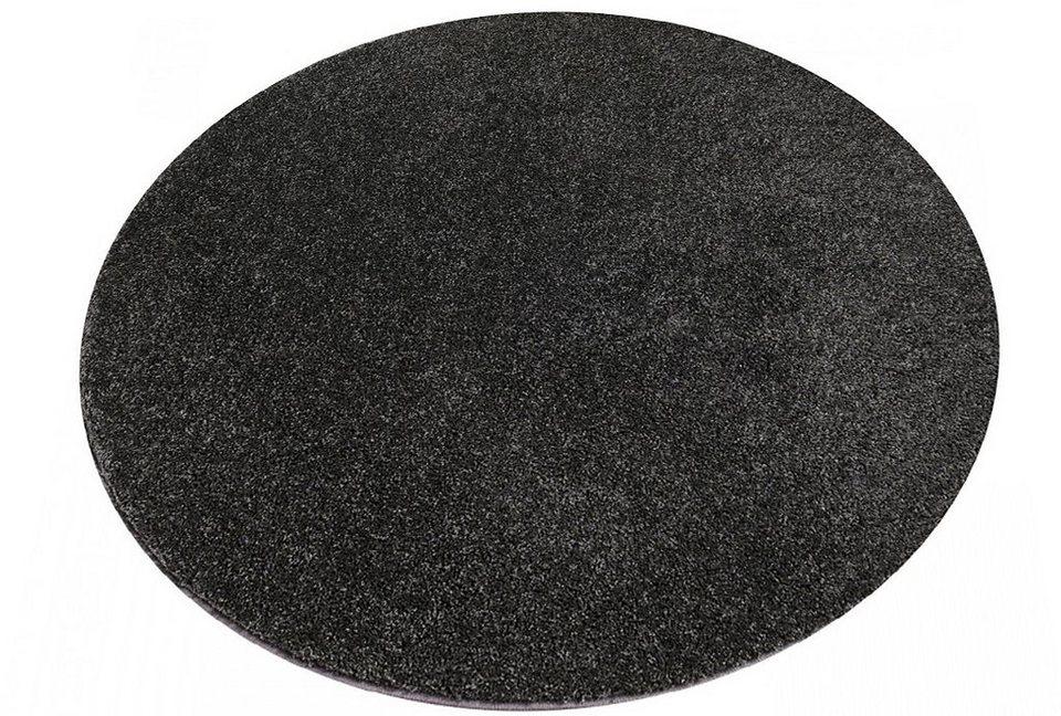 Hochflor-Teppich, Living Line, »Euphoria«, Rund, Höhe 19 mm in anthrazit