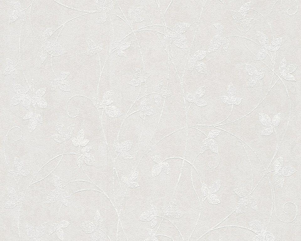 Vliestapete, Livingwalls, »Blätterranke - Memory 2« in creme beige