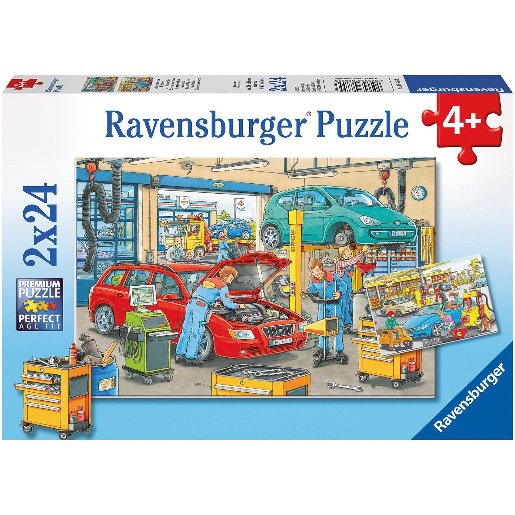 Ravensburger Puzzleset Autowerkstatt und Tankstelle 2 x 24 Teile