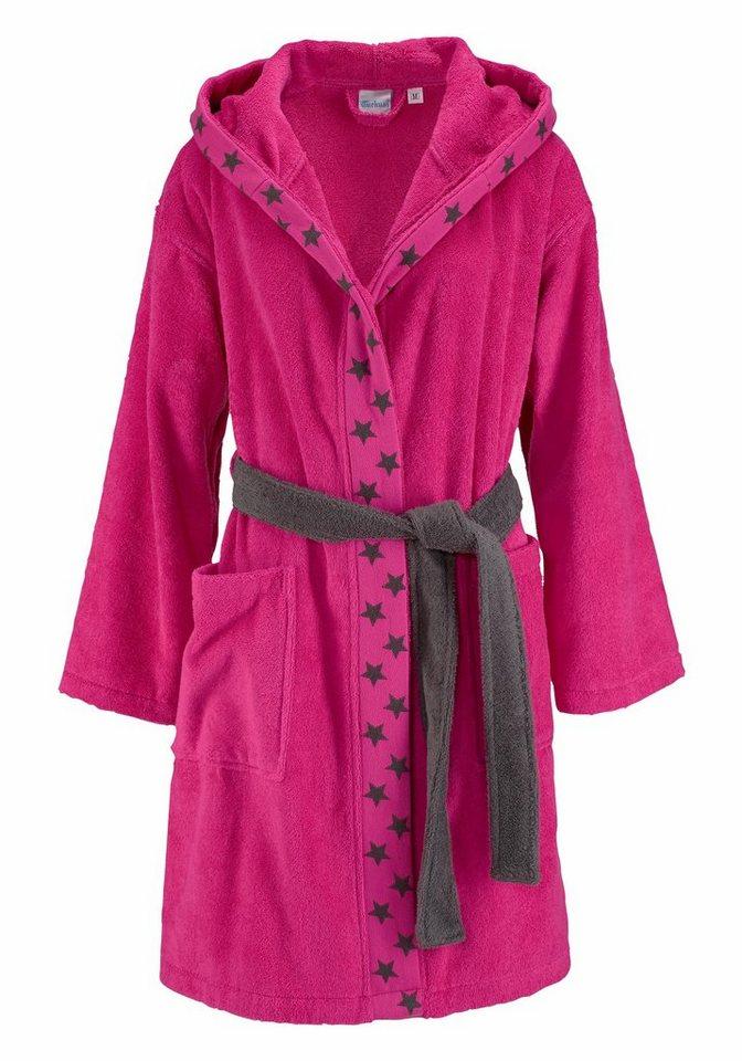 Damenbademantel, my home, »Sterne«, mit Sternensaum in pink