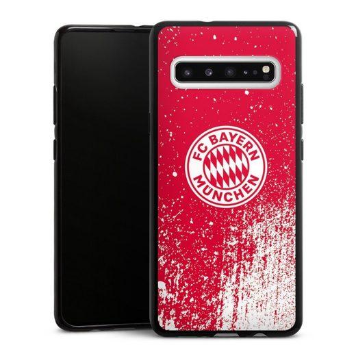 DeinDesign Handyhülle »Splatter Rot - FCB« Samsung Galaxy S10 5G, Hülle FC Bayern München Offizielles Lizenzprodukt FCB