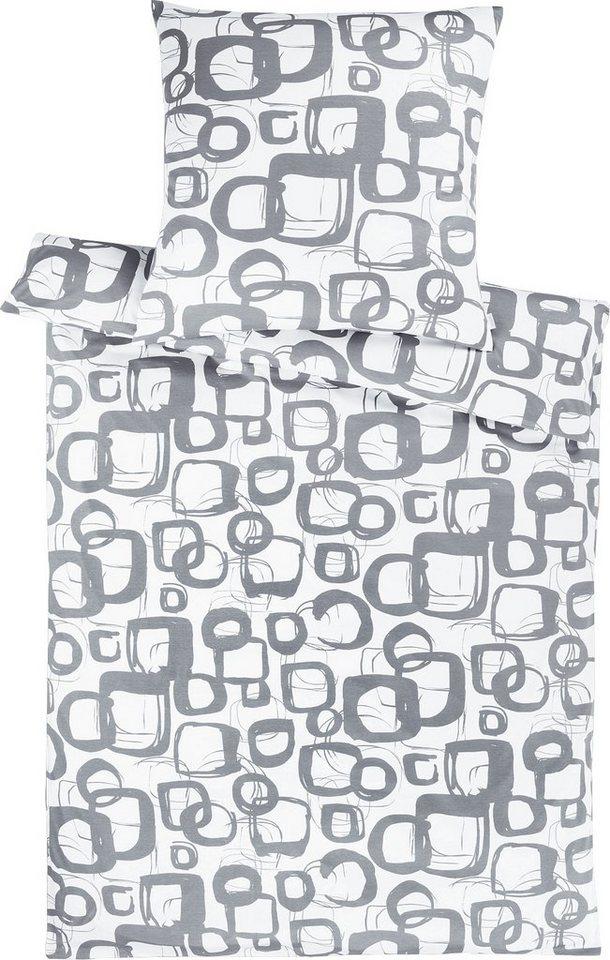 Bettwäsche, Estella, »Traffic«, mit Kreisen & Quadraten in graphit