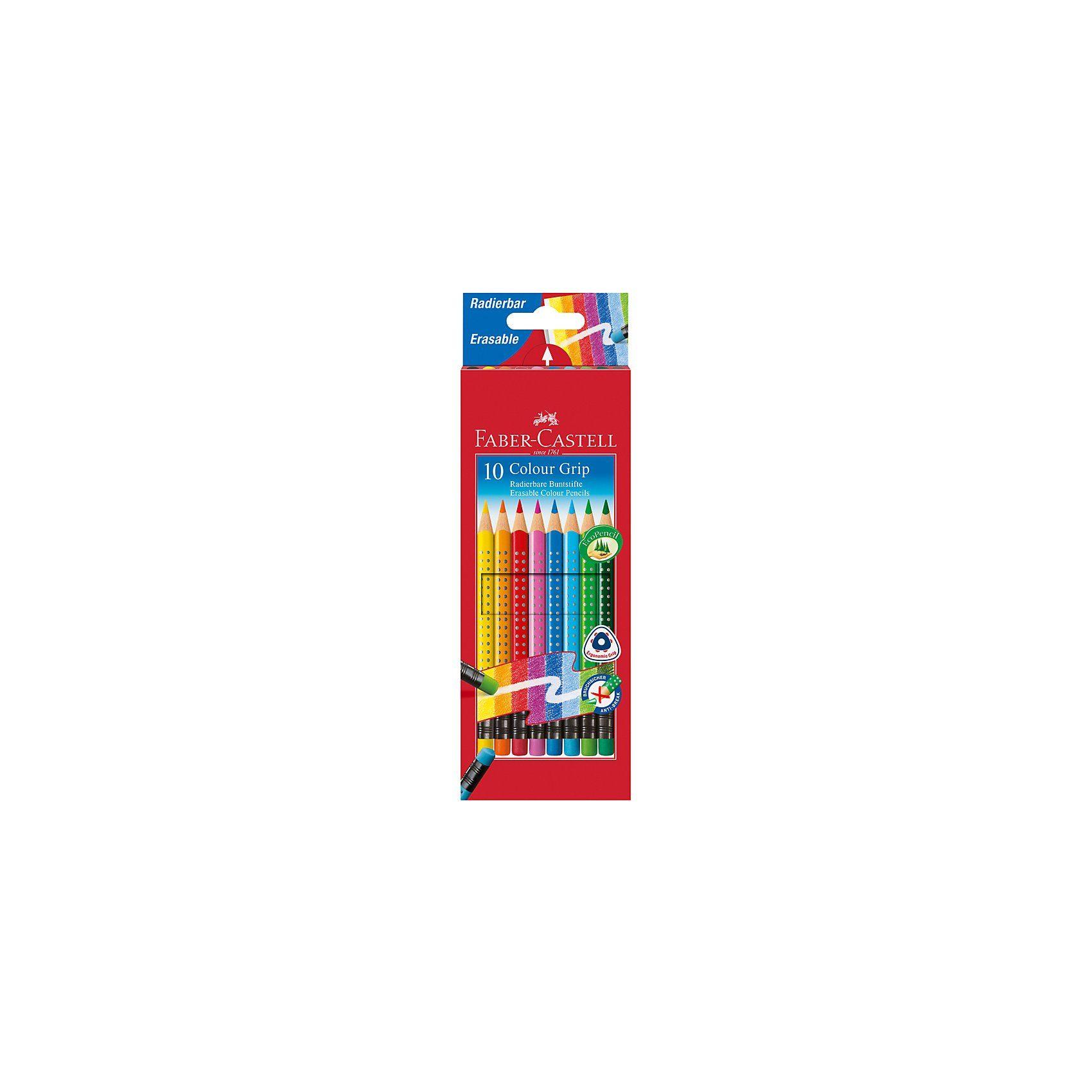 Faber-Castell COLOUR GRIP Buntstifte radierbar, 10 Farben