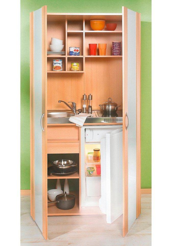 Schrankküche, mit Kühlschrank und Duo-Kochmulde in silberfarben