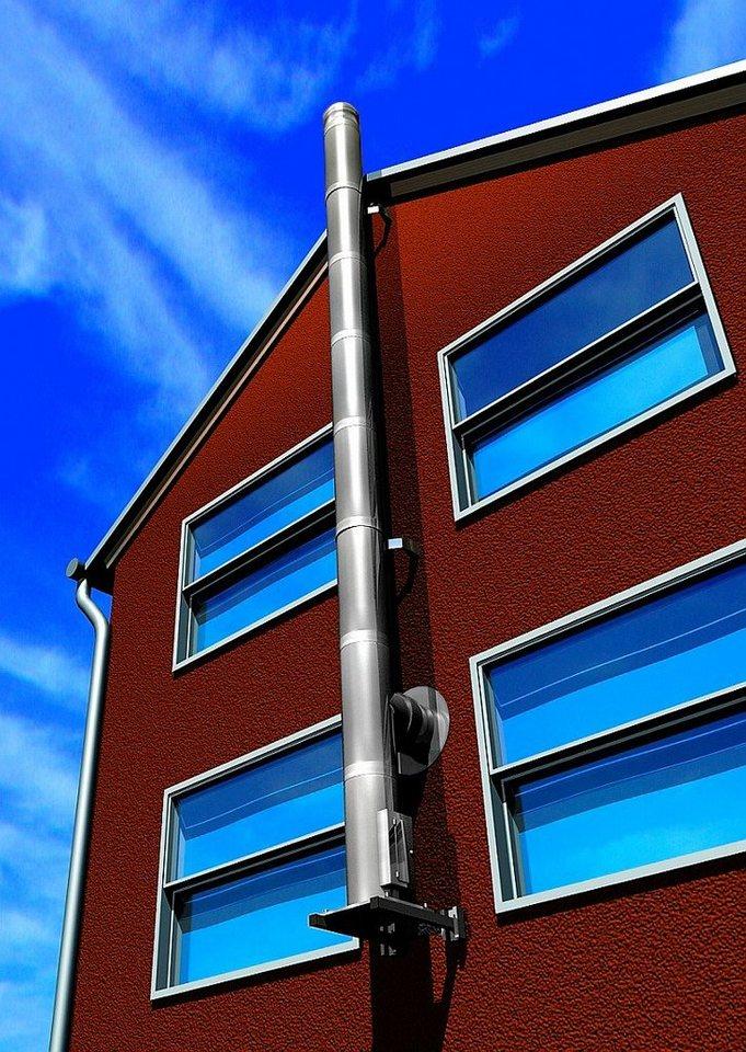 Schornstein »Edelstahl-Set Eco«, Ø 150 mm, Außenwandmontage Abstand bis zu 482 mm in silberfarben