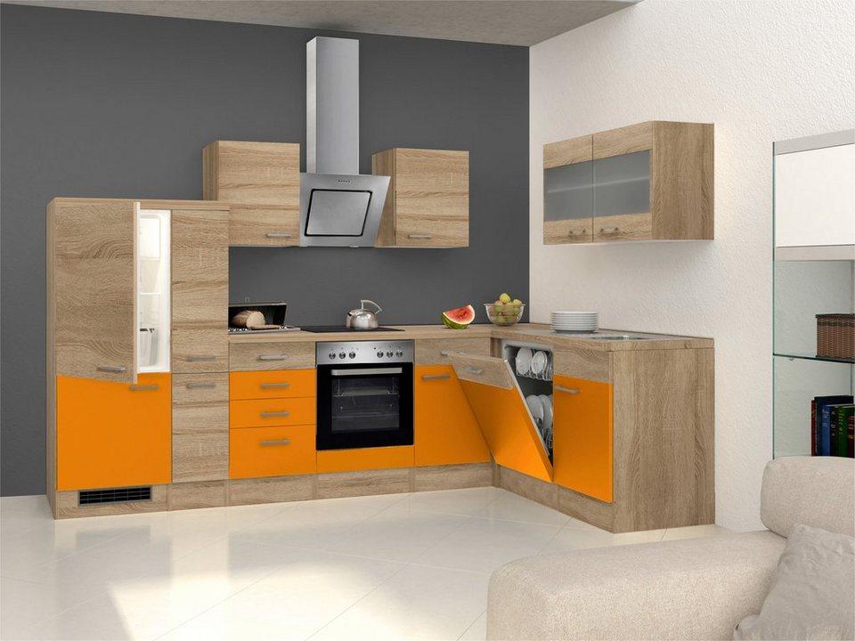 Winkel-Küchenzeile mit E-Geräten »Rio«, 310 x 170 cm, inkl. 2. Frontensatz gratis dazu in orange/weiß