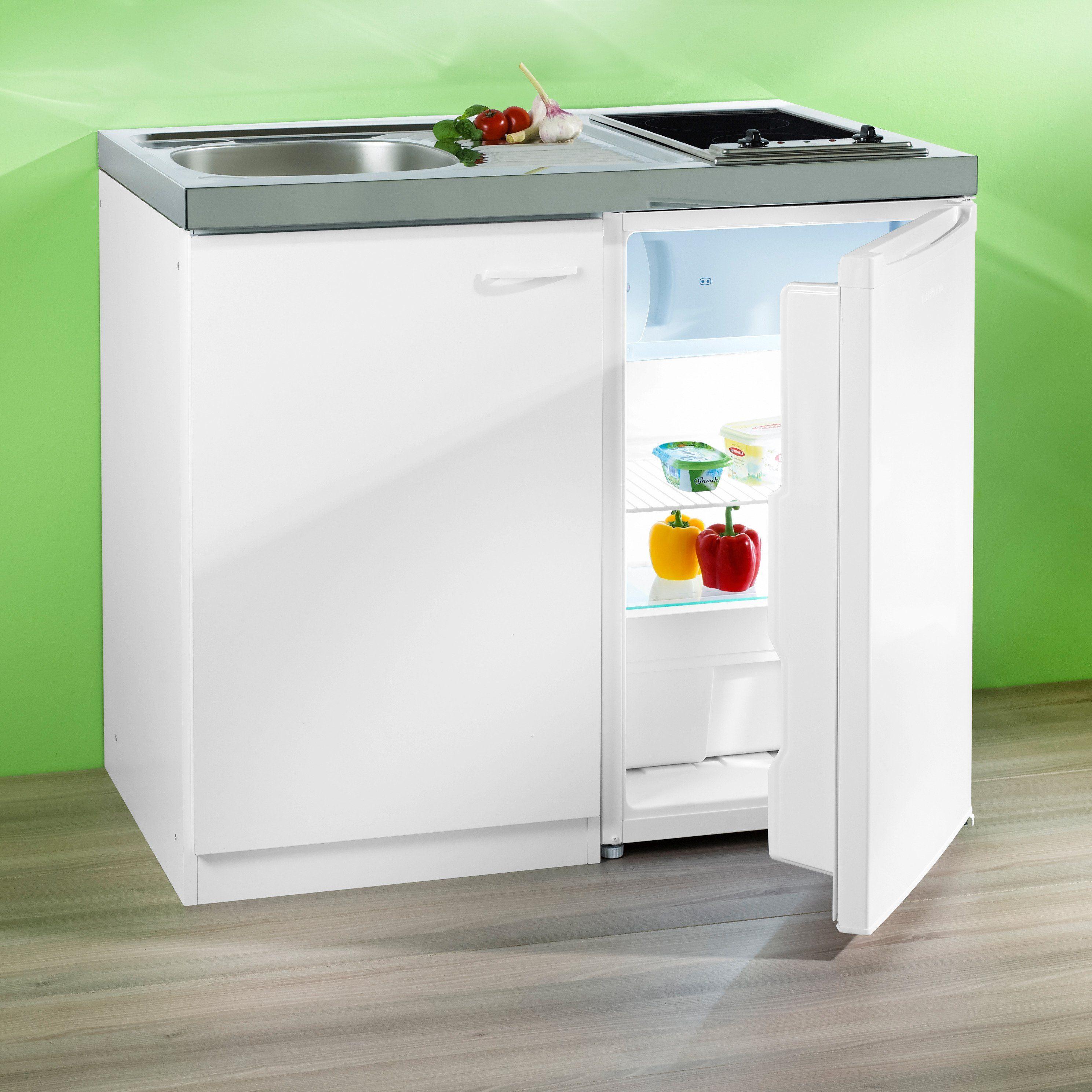 Pantry-Küche, mit Glaskeramik-Kochfeld und Kühlschrank