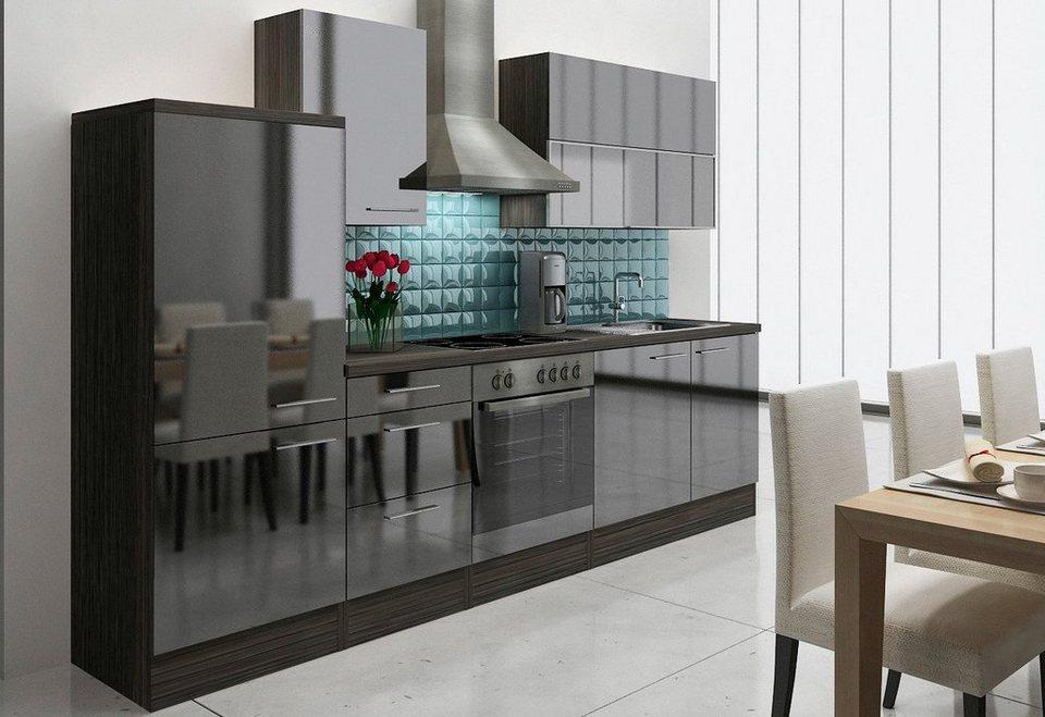 Küchenzeile »Lea«, mit E-Geräten, Breite 280 cm in eichefarben/schwarz