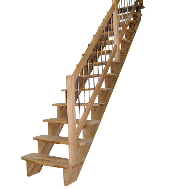 STARWOOD Massivholztreppe »Lindos«, B: 100 cm, gerade Ausführung, Geländer rechts