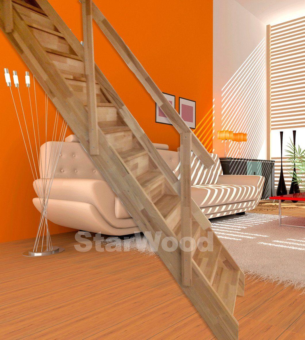 STARWOOD Raumspartreppe »Korfu«, geschl. Stufen, gerade, Holzgeländer links