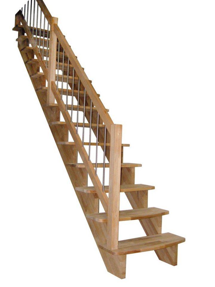Massivholztreppe »Lindos«, gerade laufend, Handlauf links,1m Stufen in natur