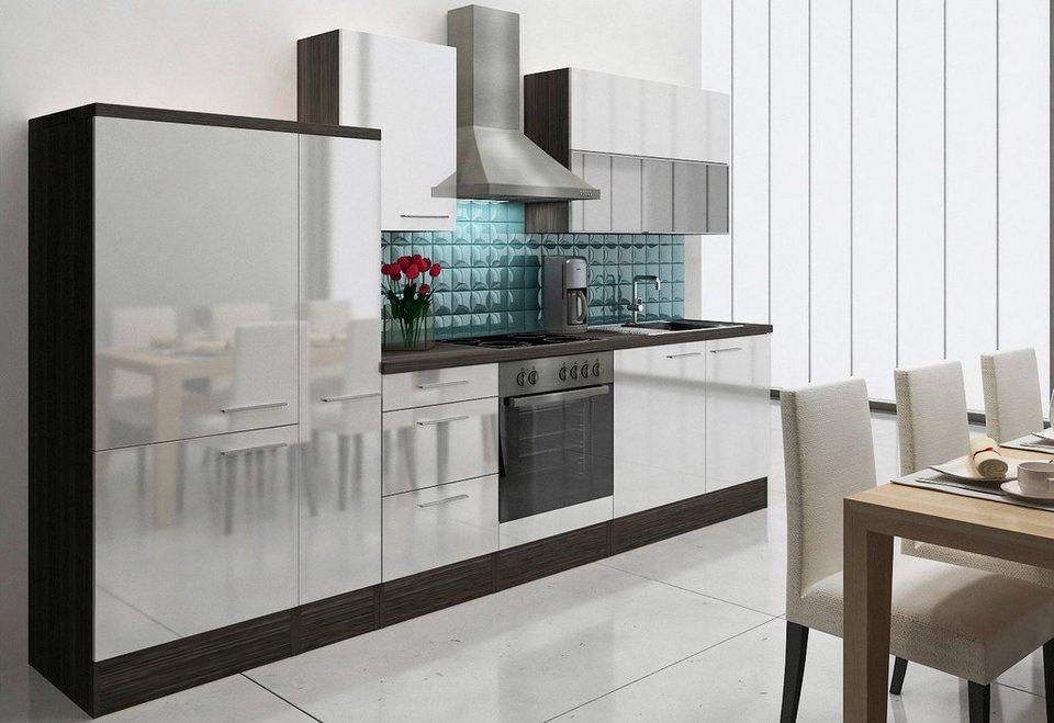 Küchenzeile »Lea«, mit E-Geräten, Breite 310 cm in eichefarben/weiß