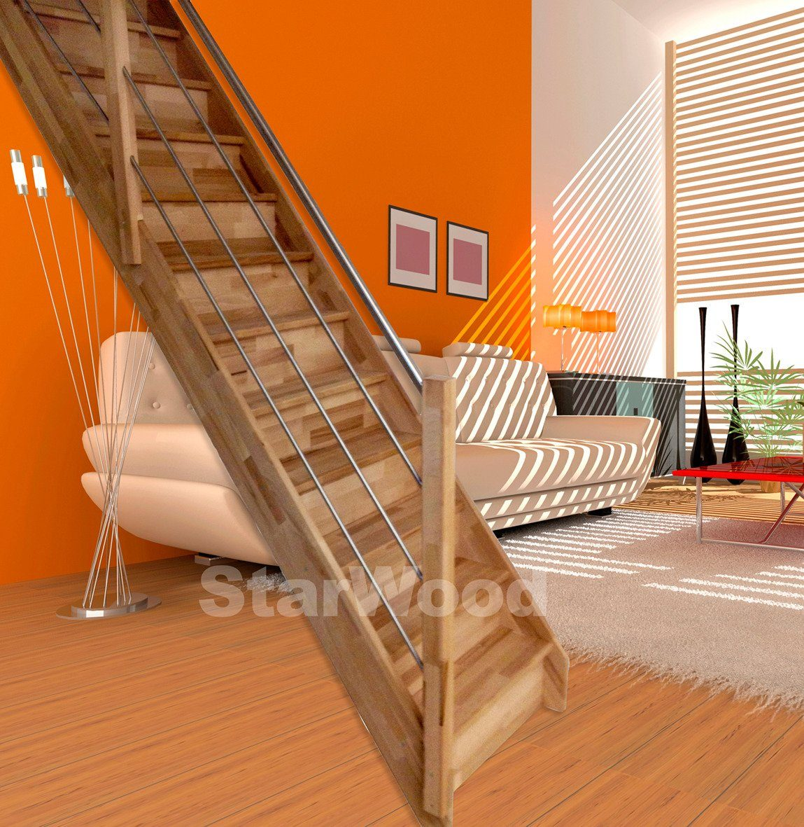 STARWOOD Raumspartreppe »Rhodos«, geschl. Stufen, gerade, Holz-Edelstahlgeländer links