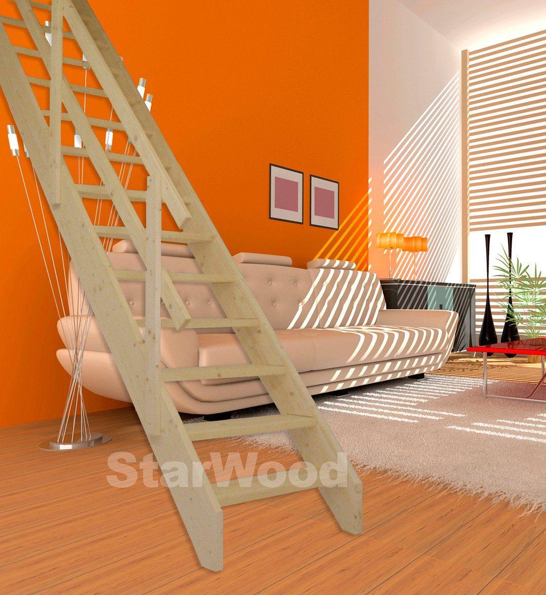 STARWOOD Raumspartreppe »Korfu«, offene Stufen, gerade, Holzgeländer links