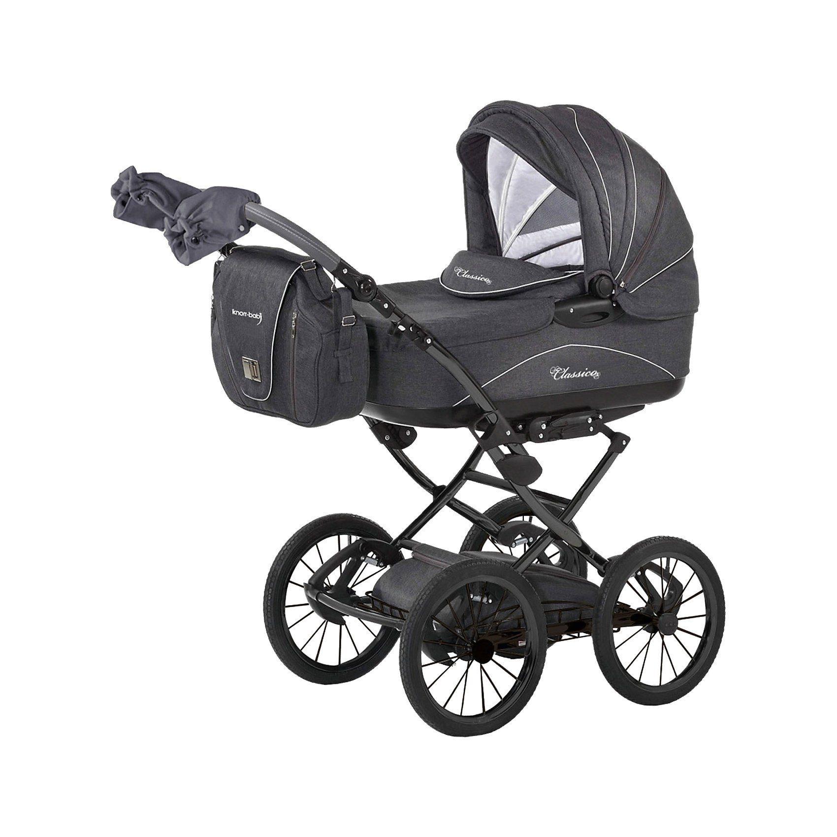 knorr-baby Kombi Kinderwagen Classico mit Wickeltasche & Handwärmer, gr