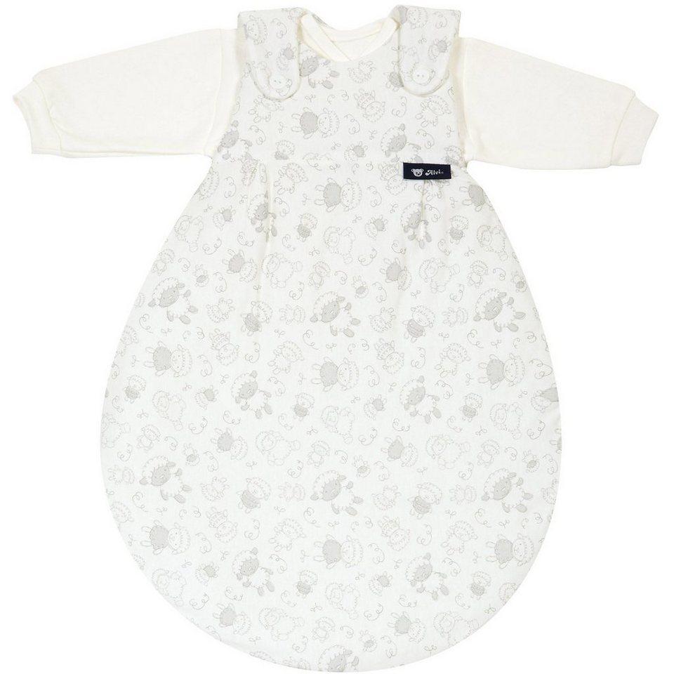 Alvi Schlafsack Baby Mäxchen, Jersey, Schäfchen beige in weiß