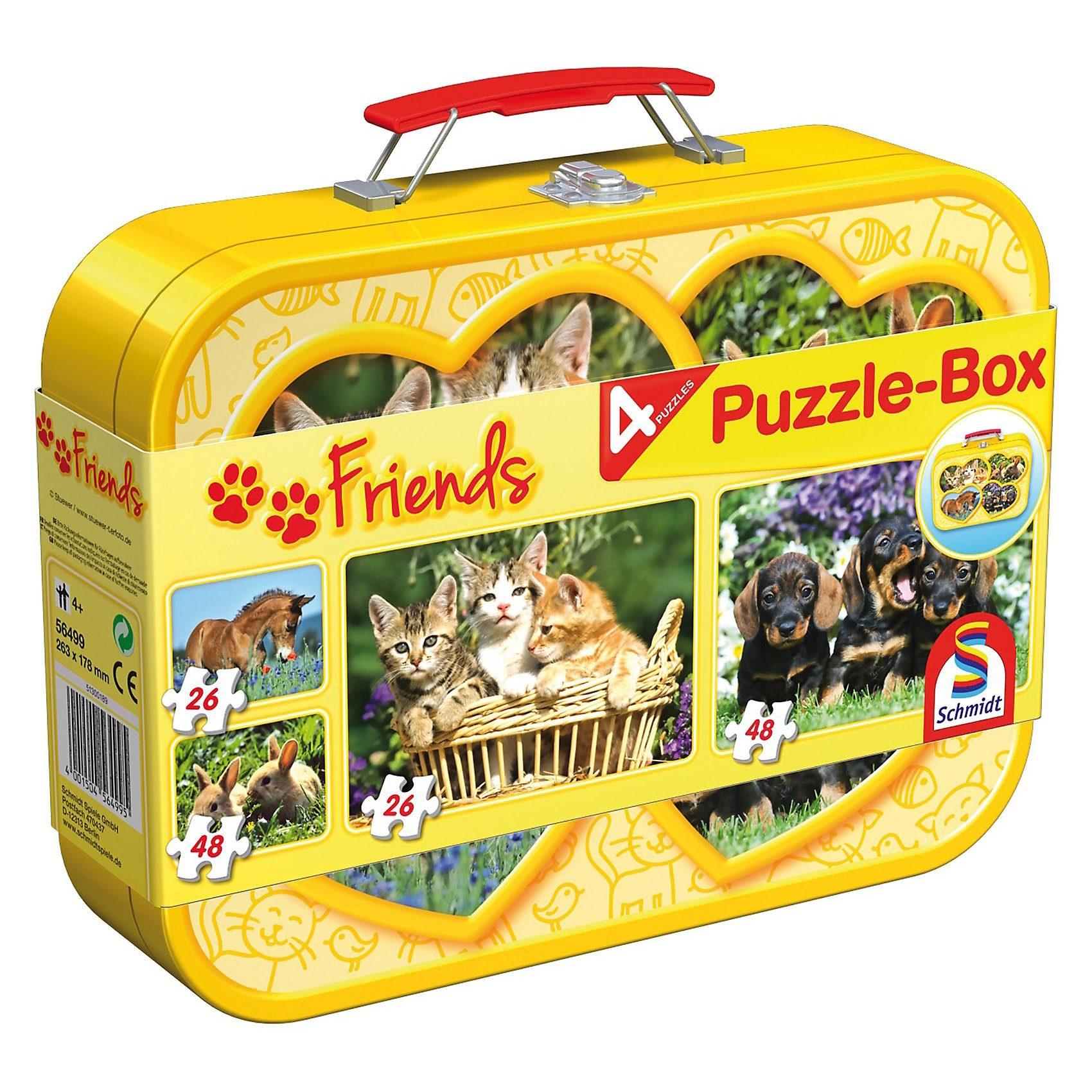 Schmidt Spiele Haustiere, Puzzle-Box 2x26, 2x48 Teile im Metallkoffer