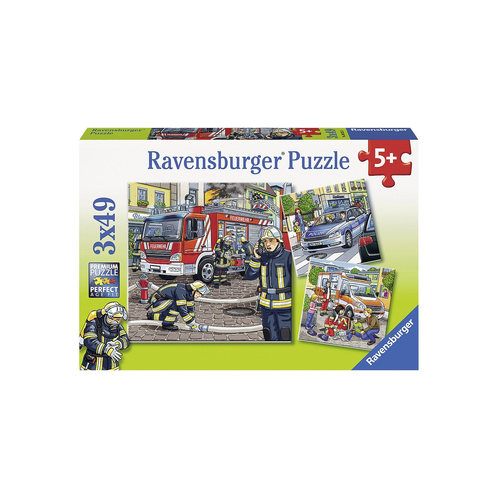 Ravensburger Puzzleset 3 x 49 Teile - Helfer in der Not