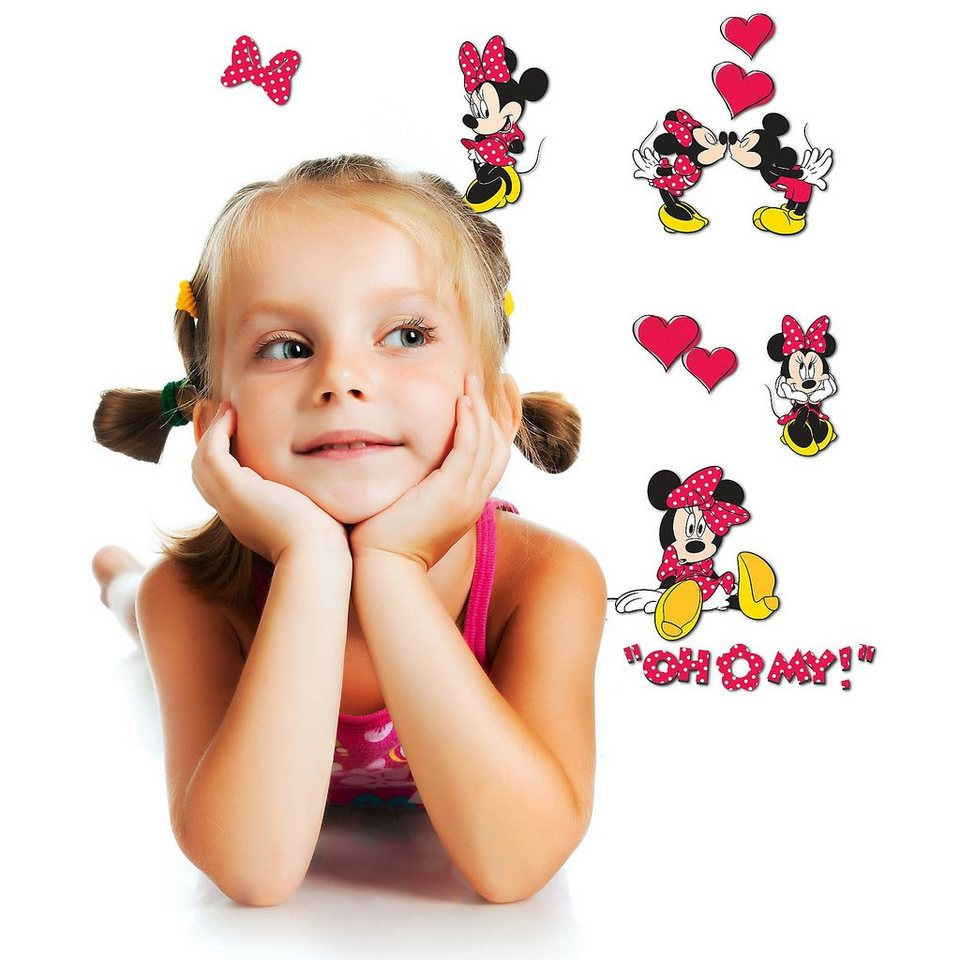 Wandsticker 3D Minnie Mouse, 9-tlg. in pink