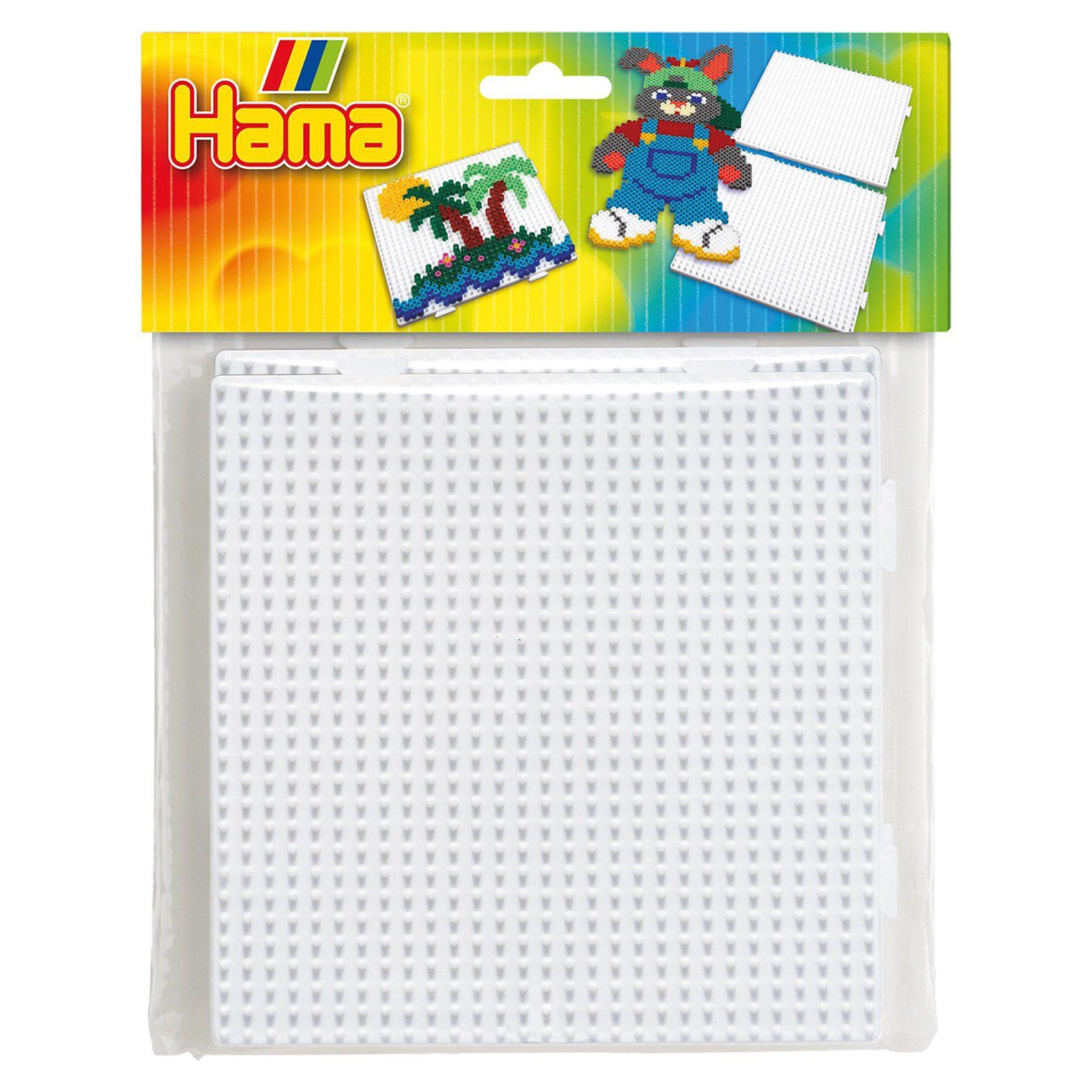 Hama Perlen HAMA 4458 midi Stiftplatten-Set 2 große Quadrat, zusammenste
