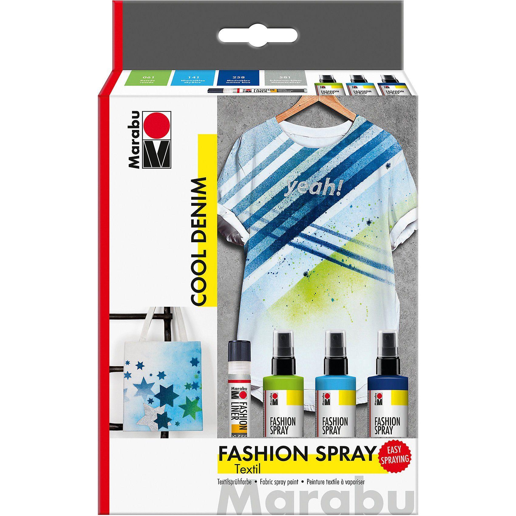 Marabu Fashion-Spray Cool Denim Textilsprühfarbe, 4-tlg.