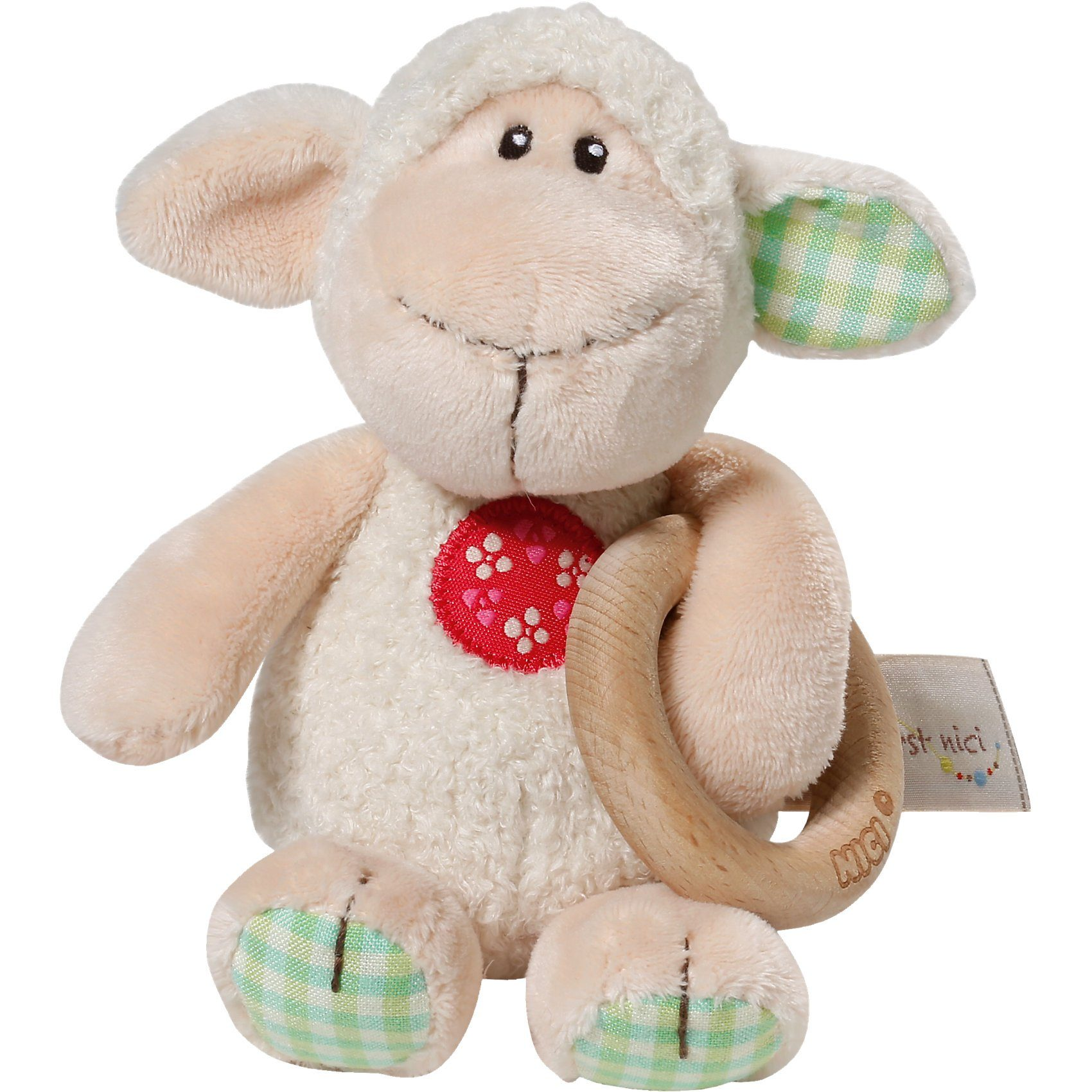 NICI My First 37881 Greifling Lamm Monny mit Holzring