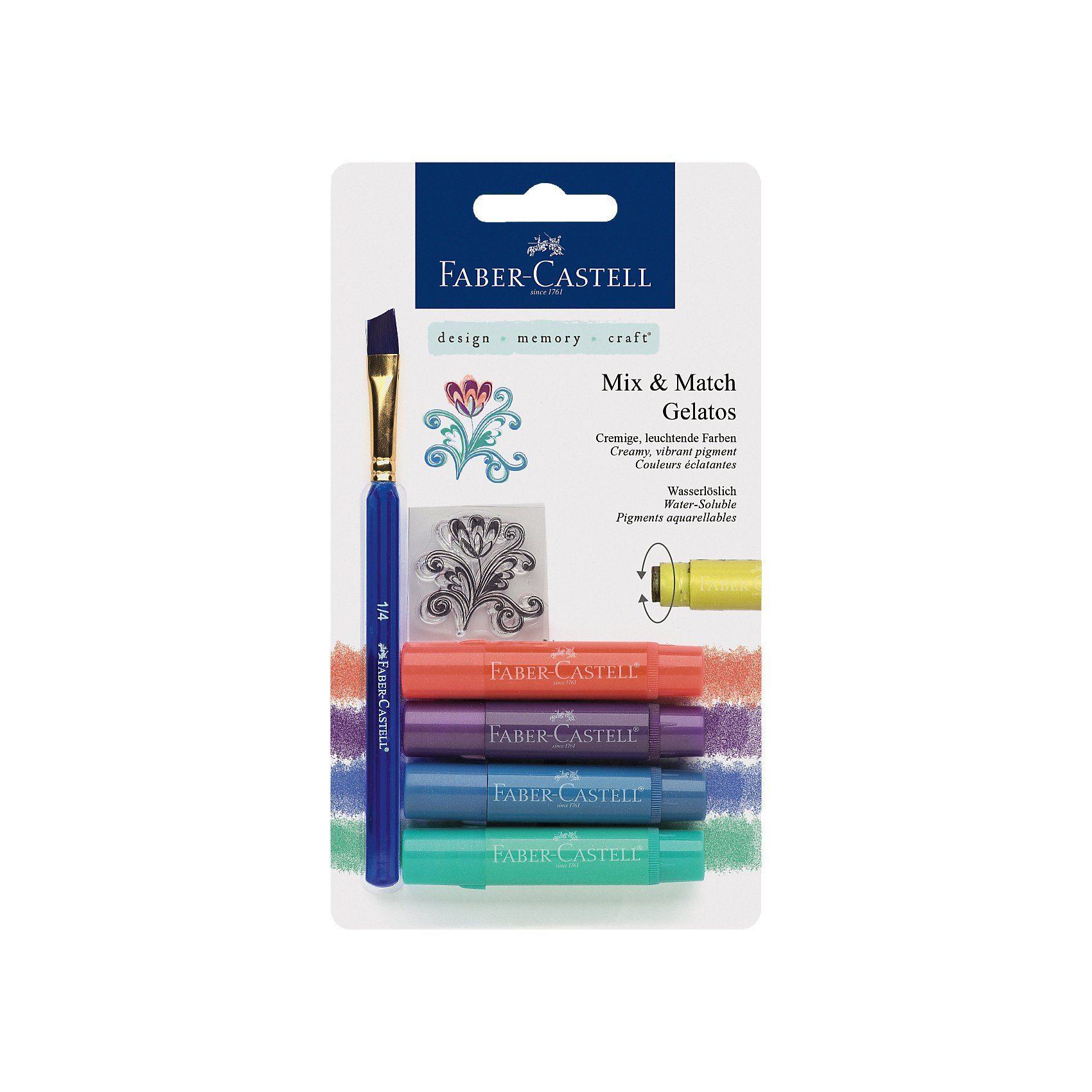 Faber-Castell Gelatos Aquarellkreide, wasservermalbar, 6 Metallicfarben