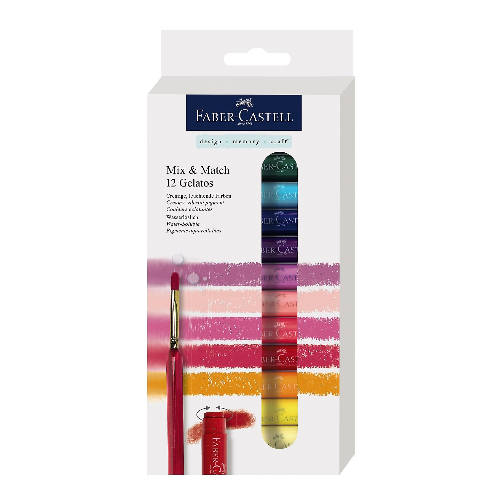 Faber-Castell Gelatos Aquarellkreide, wasservermalbar, 12 Farben
