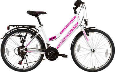 Rezzak Cityrad »26 Zoll Damen Fahrrad Mädchen Fahrrad 21 Gang Shimano Schaltung Weiss Pink«, 21 Gang Shimano, Kettenschaltung