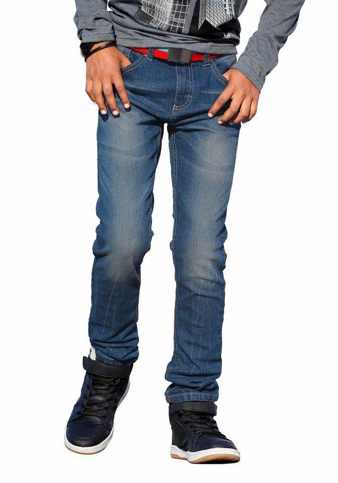 Arizona Stretch-Jeans Regular-fit mit schmalem Bein in blue-denim