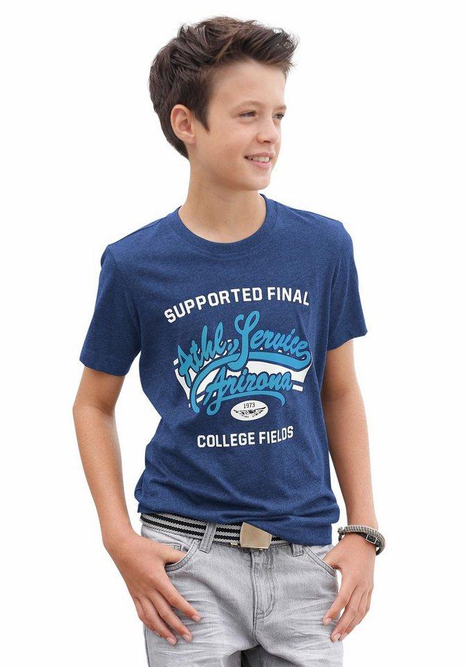 KIDSWORLD T-Shirt in Melange-Optik, für Jungen in Royalblau-Meliert