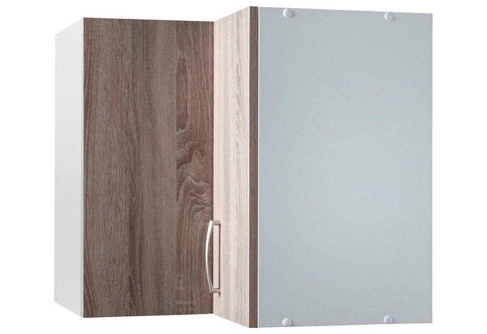 Wiho Küchen Eck-Hängeschrank »Porto«, Breite 60 x 60 cm in eichefarben trüffel