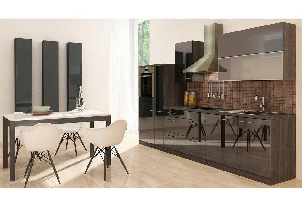 Küchenzeile mit E-Geräten »Premium«, Breite 310 cm in eichefarben grau/schwarz