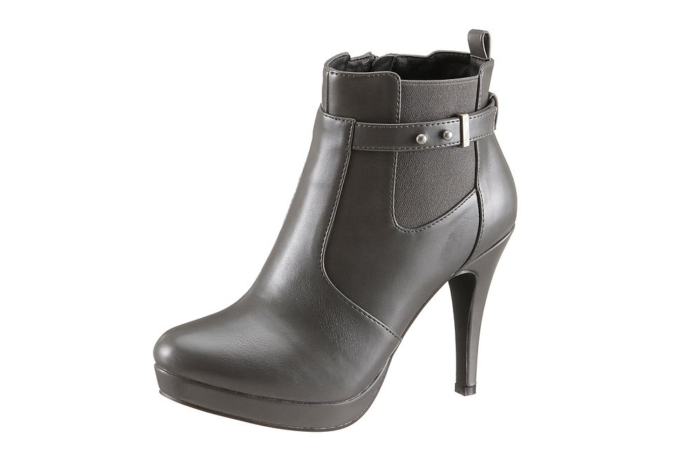 Laura Scott High Heel Stiefelette mit Strecheinsatz in grau