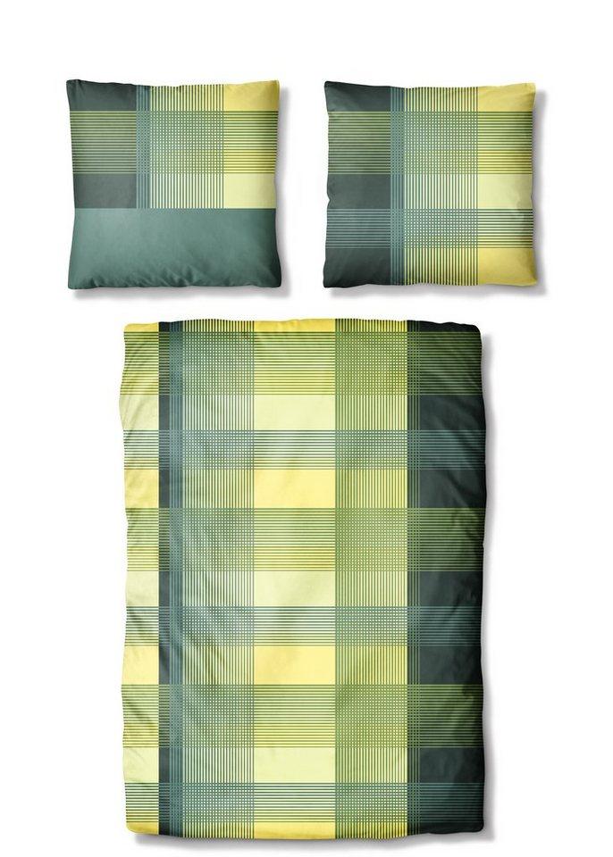 Bettwäsche, Auro Hometextile, »Trendcheck«, moderne Karos in grün