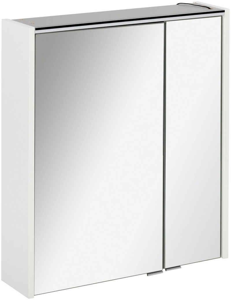 FACKELMANN Spiegelschrank »Denver« 2 Glaseinlegeböden, Schalter, Steckdose, innen verspiegelt, Anschlag frei wählbar, kante Spiegeltür Alu-Optik