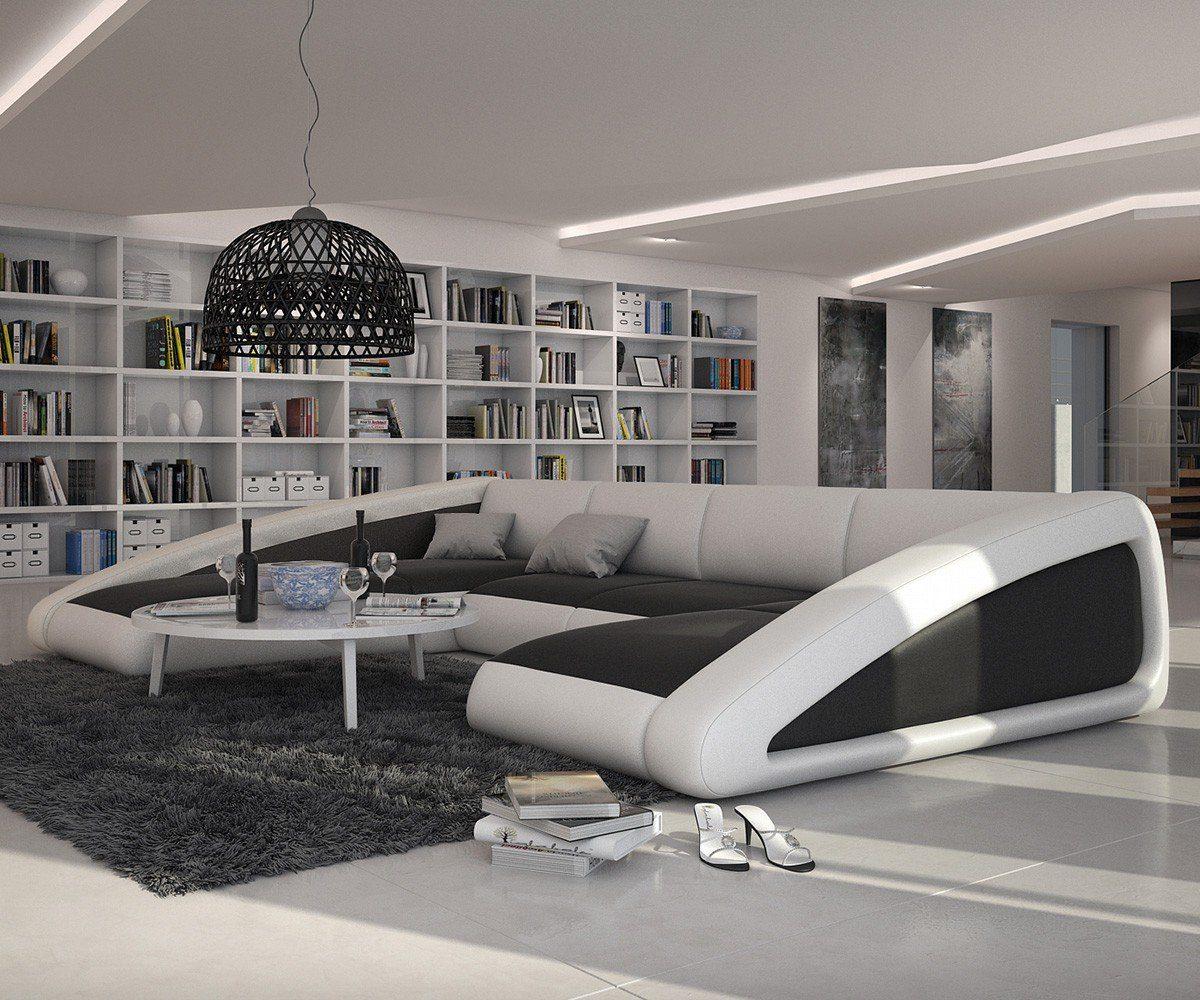 DELIFE Couch Kerry Weiss Schwarz 355x245 cm XXL Sofa Ottomane links
