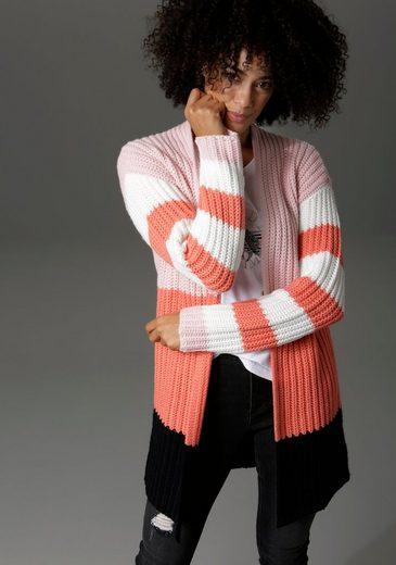 Aniston CASUAL Strickjacke im trendigen Colorblocking