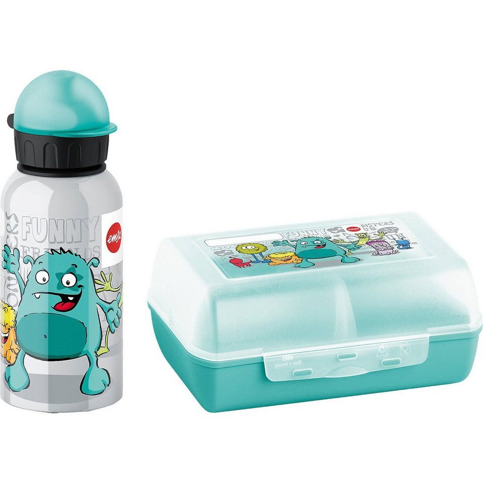 Emsa Geschenkset Trinkflasche & Brotdose Monster in blau