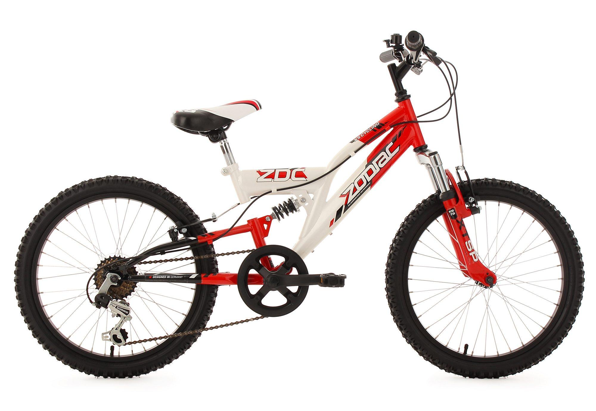 Fully Jugend-Mountainbike, 20 Zoll, rot-weiß, 6-Gang-Kettenschaltung, »Zodiac«, KS Cycling