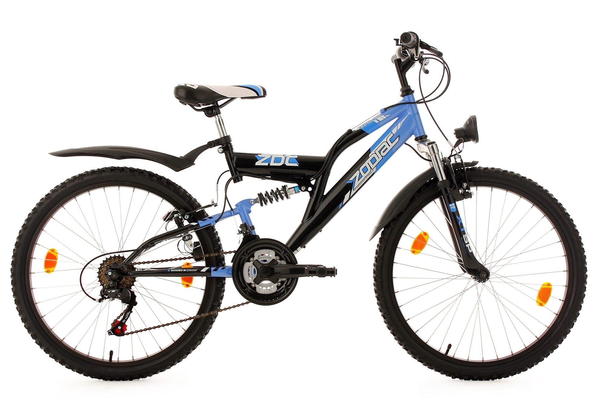 Fully Jugend-Mountainbike, 24 Zoll, blau-schwarz, 18-Gang-Kettenschaltung, »Zodiac«, KS Cycling