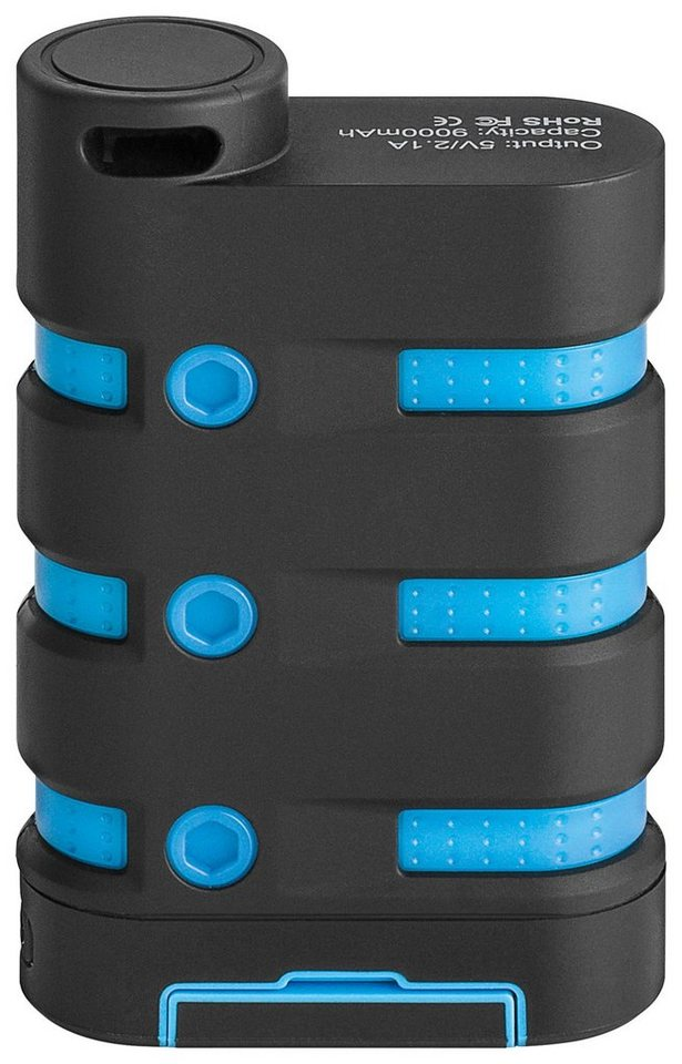 goobay Outdoor PowerBank 10.050 mAh »wasserdicht und leistungsstark« in schwarz/blau