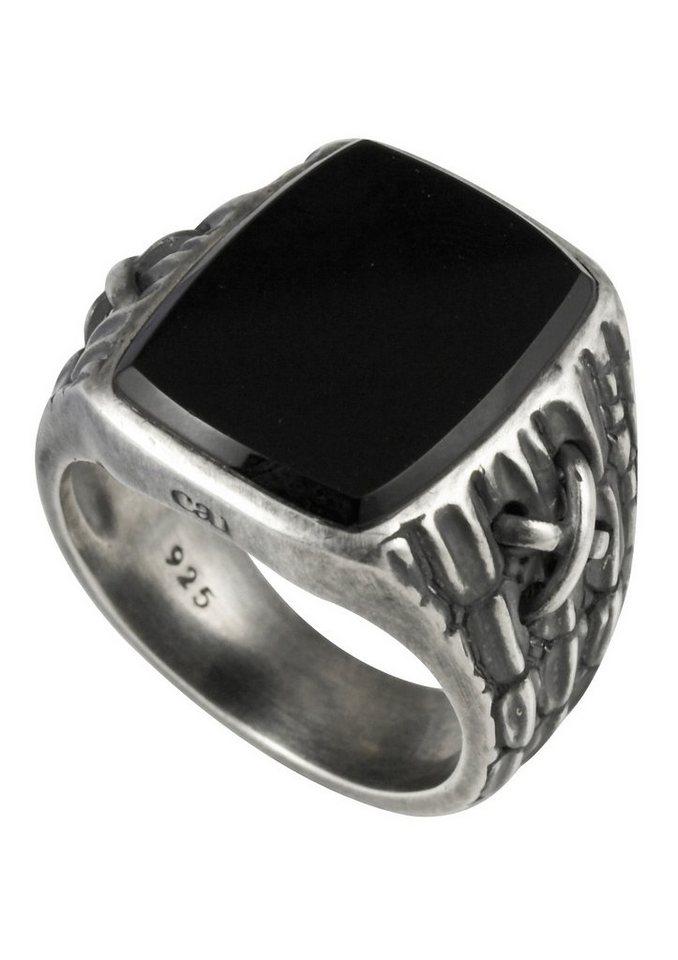 caï Men Ring, »C4039R/90/13/61,63,67« in Silber 925/schwarz