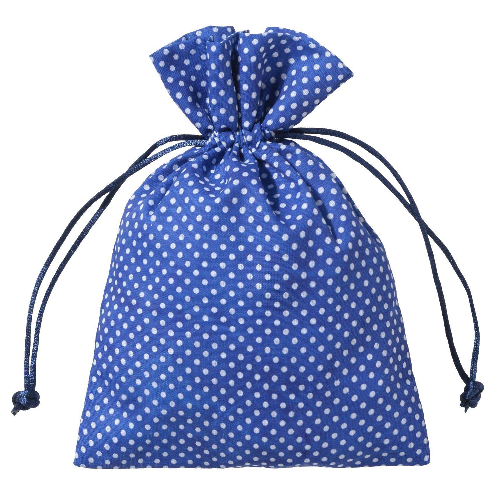 Hotex Stoffbeutel 13 x 18 cm Punkte blau, 12 Stück