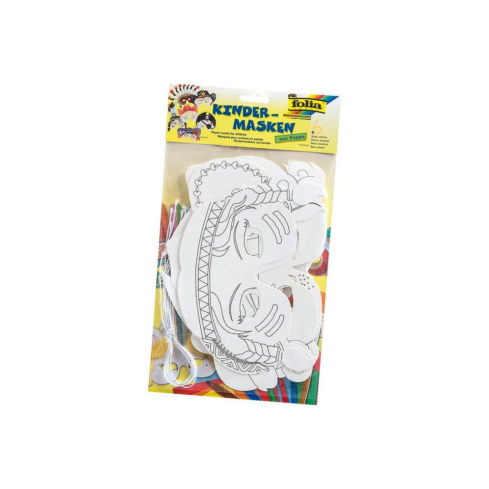 Folia Pappmaskenset Kinder, 6 Stück