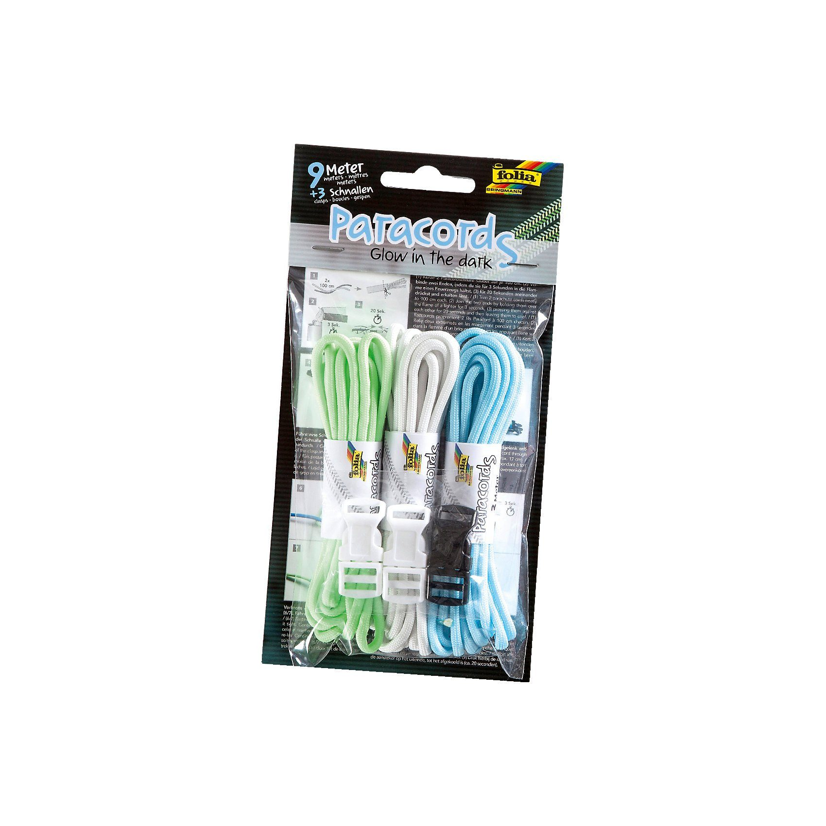 Folia Paracords Glow in the dark, 9 m & Zubehör