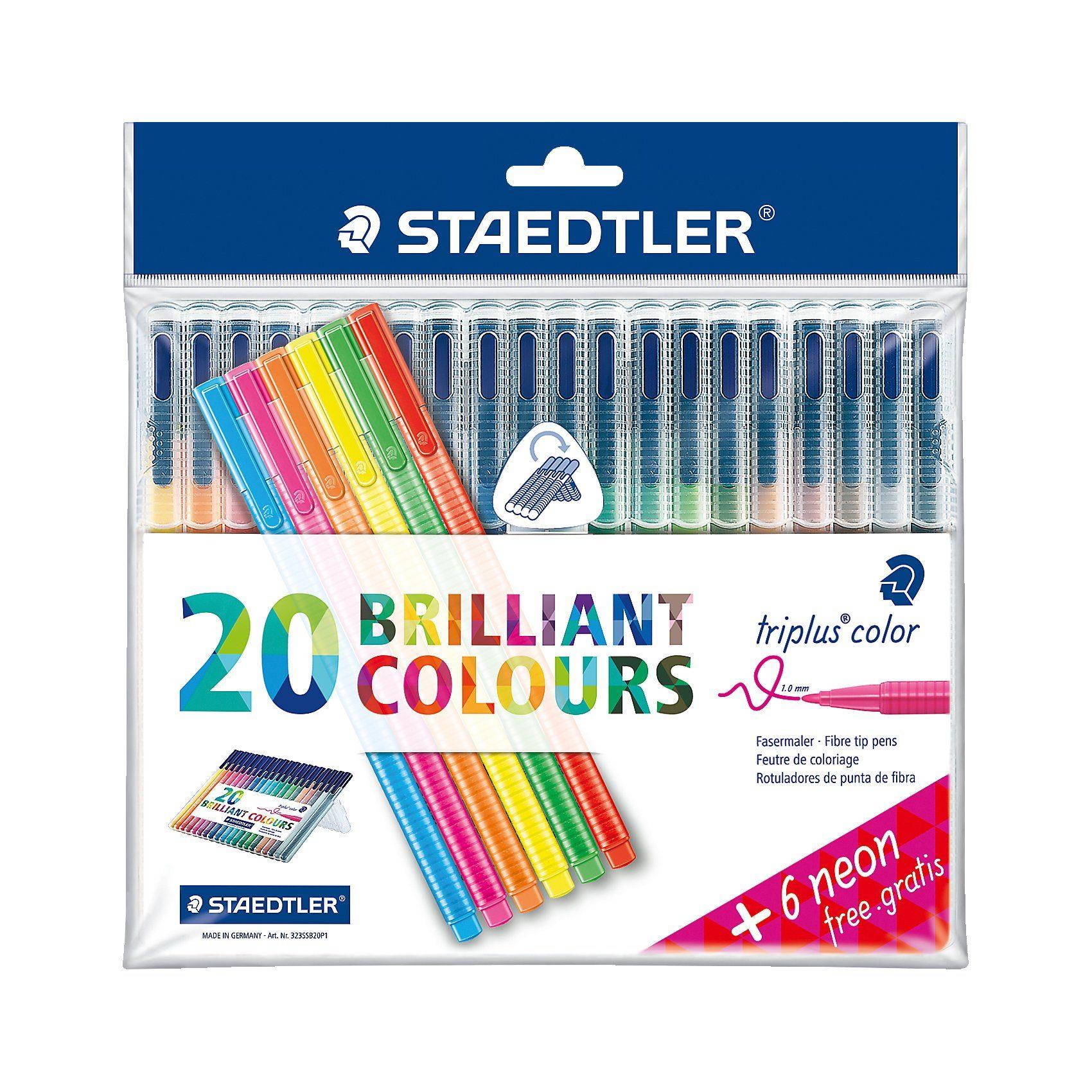 STAEDTLER Filzstifter triplus color DRY SAFE, 20 Farben & 6 Neon-Farbe