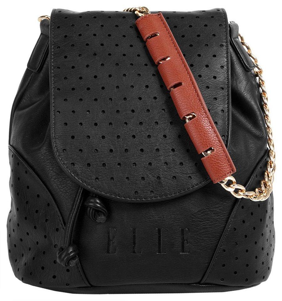 ELLE Damen Rucksack-Handtasche in schwarz