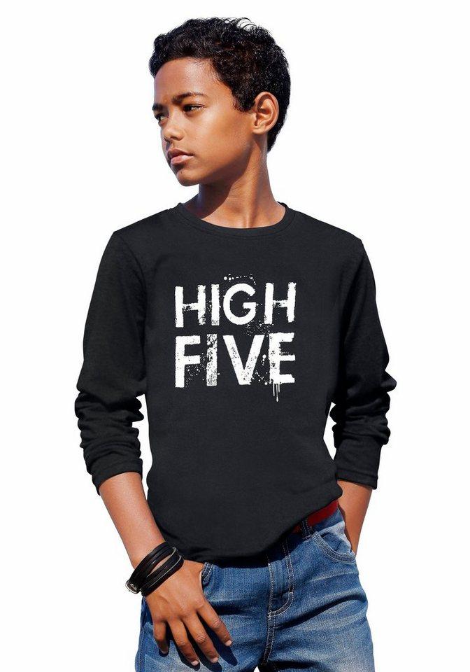 """Arizona Langarmshirt """"HIGH FIVE"""" in schwarz"""