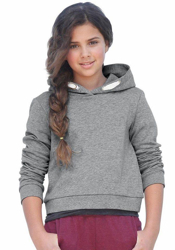 KIDSWORLD Kapuzensweatshirt in kurzer Form in grau-meliert